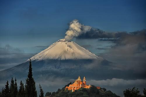 Popocatepetl and Choula Church by Cristobal Garciaferro Rubio - Landscapes Mountains & Hills ( cholula, church, popo, mexico, virgen de los remedios, puebla, popocatepetl )