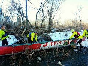 Photo: Bush whacking with the canoe