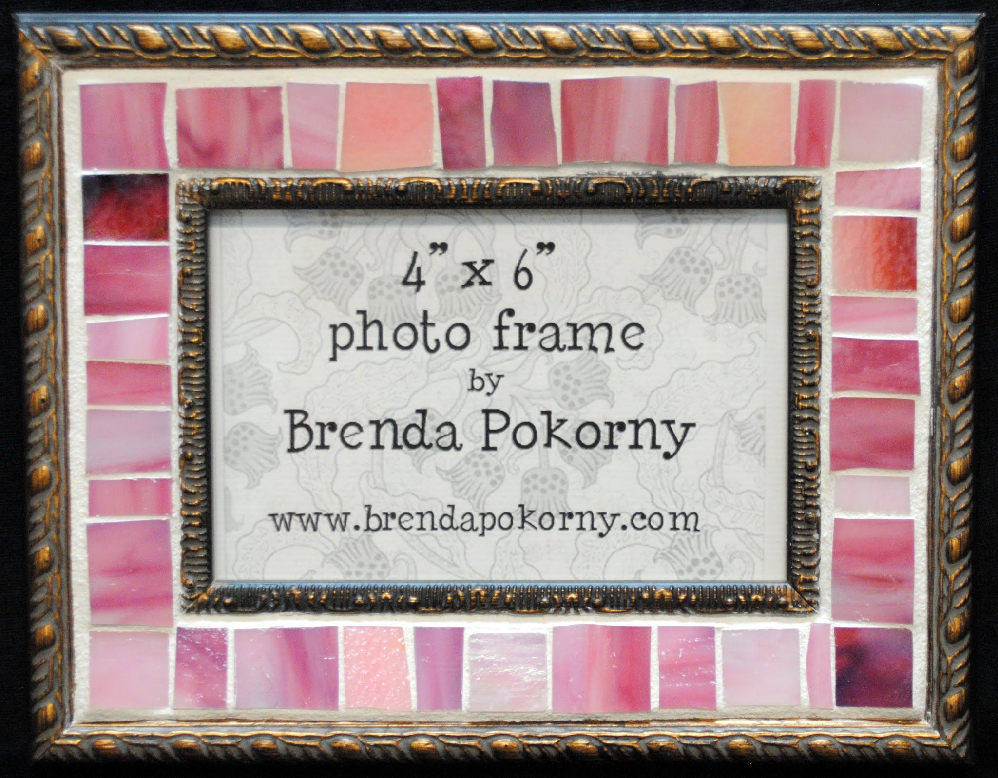 "Rose Pink & Bronze 4"" x 6"" Mosaic Photo Frame MOF1450"