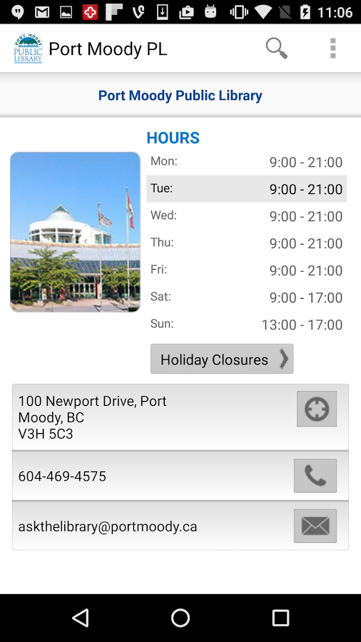 Port Moody Public Library- screenshot