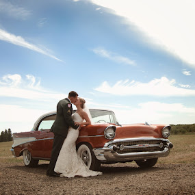 Chevy Love by Nicole Weatherly - Wedding Bride & Groom ( army, love, blue skies, chevy )