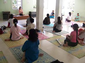 Photo: 1 Month YTT Course - Batch of May 2008 - Jeenal Mehta conducting Asana's Class (students performing Vrsasana).