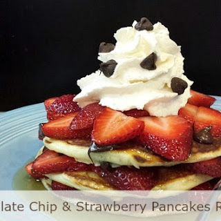 Chocolate Chip and Strawberry Pancakes Royale