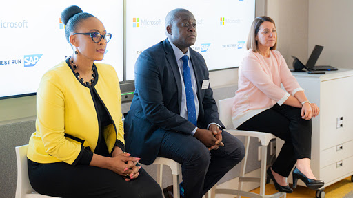 From left: Lillian Barnard, Microsoft SA MD; Sabelo Nkwanyana, Standard Bank CIO for personal and business banking SA; and Cathy Smith, MD of SAP Africa.