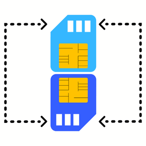 two sim cards with arrows pointing from one to another