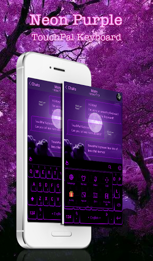 New Neon Purple Keyboard Theme