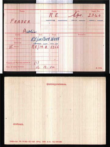 Archibald Fraser's Medal Index Card