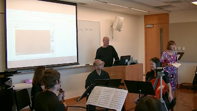 """Photo: Ludmilla Leibman introduces musicians playing the US premiere ofSvetlana Nesterova's Quartet """"On the Departure from St. Petersburg to Boston,"""" on October 28, 2013, at the Composers Seminar, Tufts University"""