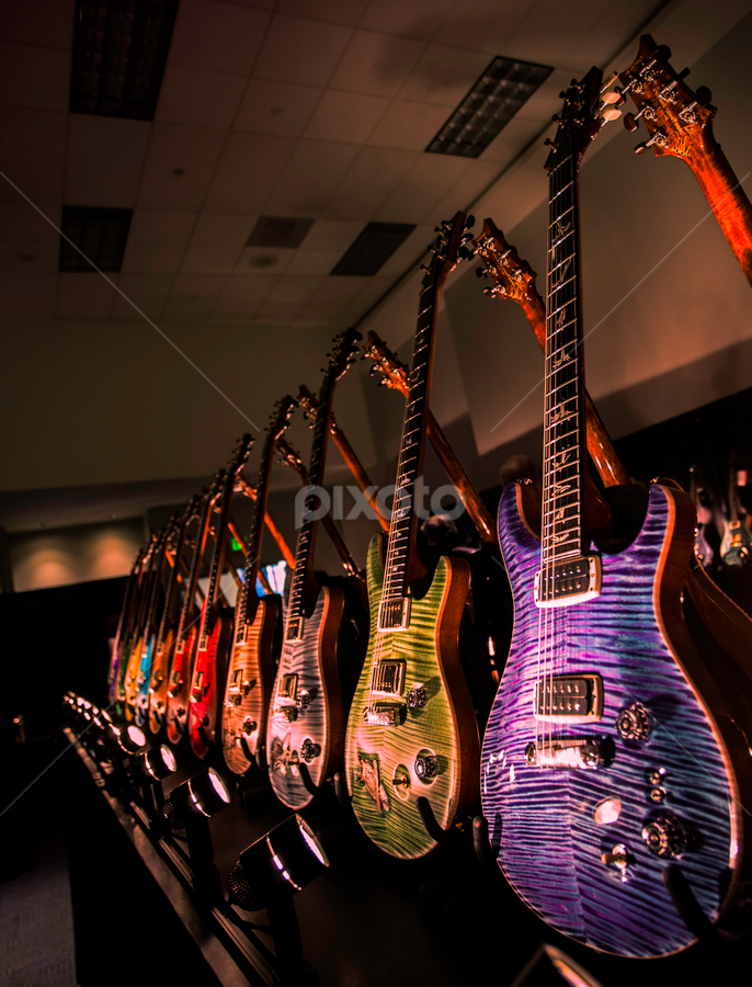 by Jerome Obille - Artistic Objects Musical Instruments ( music, lined up guitars musical intruments objects )