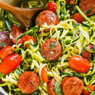 One-Pot Smoked Sausage and Zucchini Noodles.