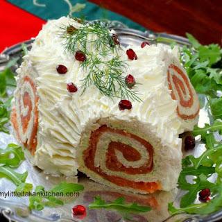 Christmas Savoury Log with salmon