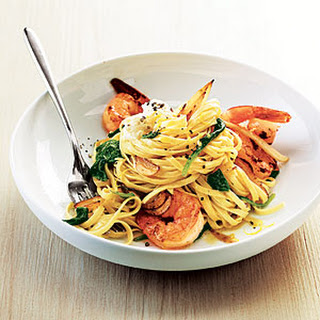 Shrimp Linguine with Ricotta, Fennel, and Spinach.