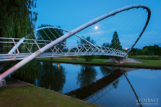 Photo: Full Moon over the Butterfly Bridge - Bedford, U.K.  The Butterfly Bridge of Bedford in Bedforshire won in a design competition in 1995. The bridge measures at 32 meters in span, has twin steel arches which are inclined like butterfly wings to produce a feeling of containment on the deck and, simultaneously, an openness to the sky.  #Bedford   #ButterflyBridge   #England   #UK   #Travel   #Photography   © Yen Baet - www.YenBaet.com. All Rights Reserved. Join me on Facebook at www.facebook.com/YenBaetPhotography.