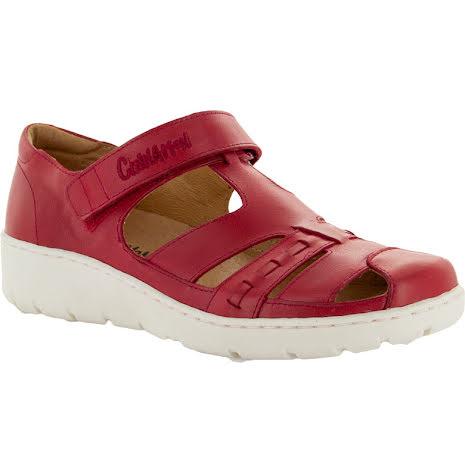 Kim röd stängd sandal med kardborre