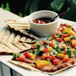 Spicy Refried Bean and Mango Quesadillas