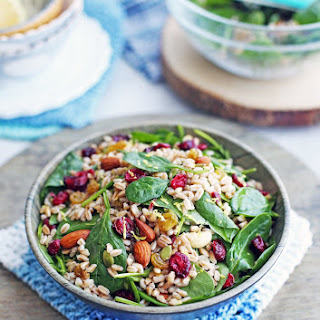 Farro and Spinach Salad with Dried Fruit and Nuts.