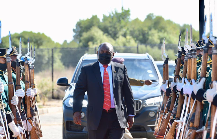 President Cyril Ramaphosa arrives at the Charlotte Manye Maxeke Treatment Centre in Botshabelo, an anti-drug and substance abuse treatment facility, during 2021 Freedom Day celebrations.