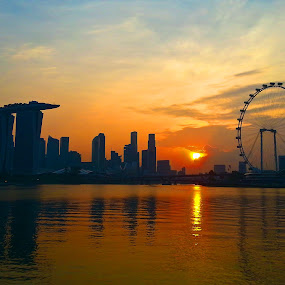 Marina Bay sunset by Jibo Barroga - Instagram & Mobile Android ( skyline, waterscape, sunset, cityscape, landscape )