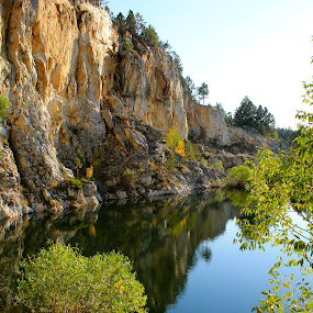 Quarry by J.c. Phelps - Landscapes Mountains & Hills ( limestone, water, nature, cliff, oranges,  )