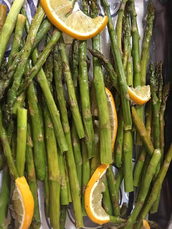 Roast Lemon Asparagus With Mint