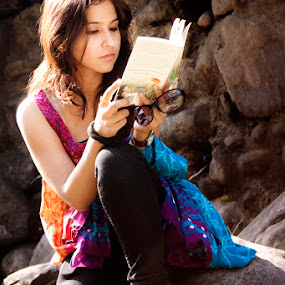 Book, a good friend by Anurag Bhateja - People Portraits of Women ( girl, book, india, women )