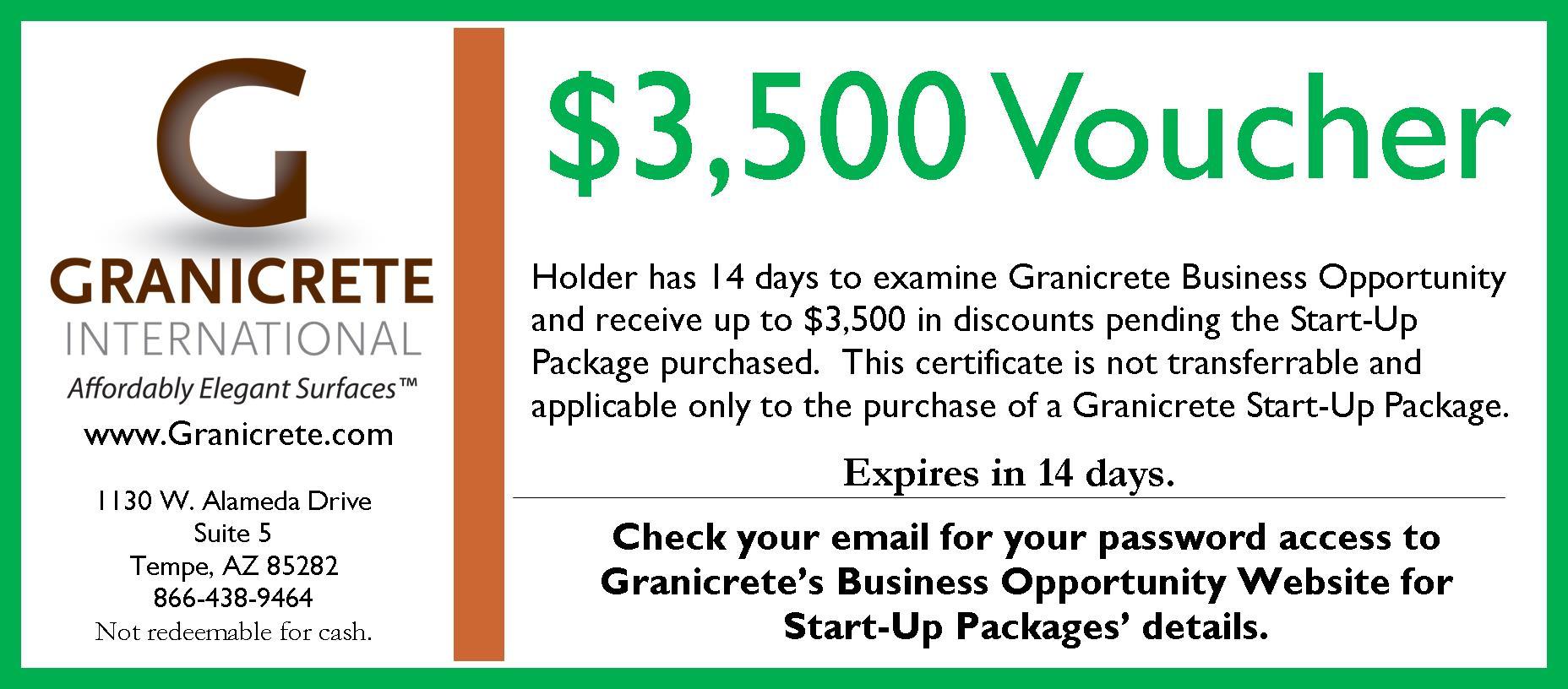 $3,500 Start-Up Voucher