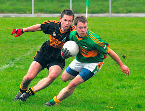 Photo: Conor Reynolds turns away from John Mc Guinness v Gortletteragh, Division 1 2009