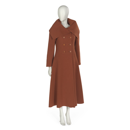 Double-breasted maxi coat in rust brown double-faced wool fleece