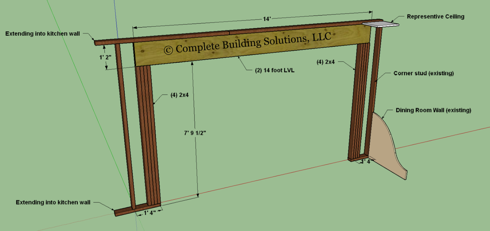 structural drawing of a load bearing wall
