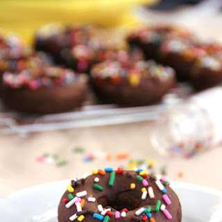 Baked Chocolate Sprinkle Donuts.