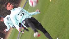 Lucas Robertone en el entrenamiento con Argentina.