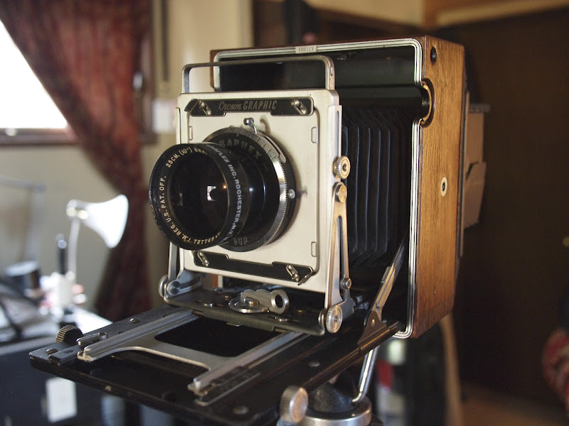 Photo: Graflex Crown Graphic. 1940 something. Leather cover stripped and mahogany underneath refinished.