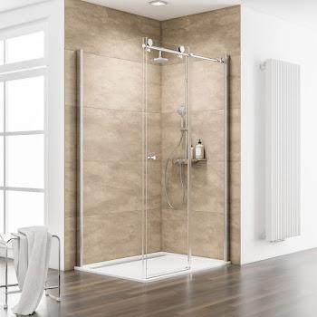 Porte de douche coulissante avec paroi latérale, 100 et 80 cm à 160 et 90 cm