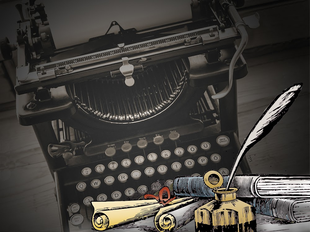 Typewriter & Quill Pen