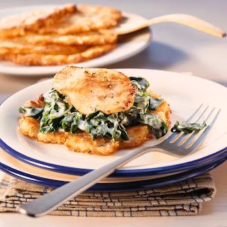 Puffer mit Spinat und Putenschnitzel