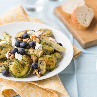 Chicken Pesto Ravioli with Blueberries and Goat Cheese.