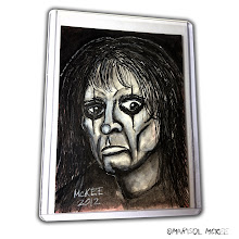 Photo: Alice Cooper. 2.5 x 3.5 inches or 6 cm x 9 cm. Watercolors and ink on 100 lb. acid-free Bristol paper. Signed on the front; title and signature on the back. Sealed with a matte finish. Comes in a clear rigid plastic top-loader. ©Marisol McKee.