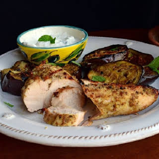 Grilled Za'atar Chicken and Cumin Eggplant.