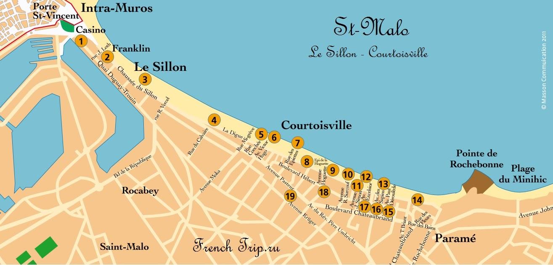 Сен-Мало: туристический маршрут Le Sillon - Courtoisville с картой, путеводитель по Сен-Мало. Что посмотреть в Сен-Мало (Saint-Malo), Бретань, Франция