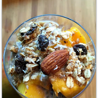 Mango Raw Almond Granola Chia Seed Parfait.