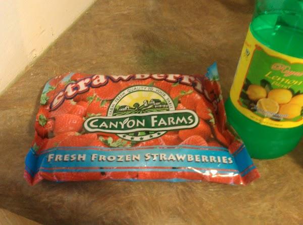 Puree the bag of strawberries & lemon juice in blender.