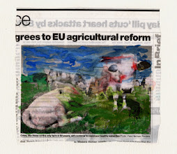Photo: Agrees To EU Agricultural Reform. Water color and gold leaf on newspaper, (165 x 155 mm).