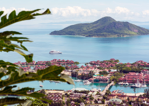 crystal-esprit-mahe-victoria.jpg - Crystal Esprit cruises through the main port of the Seychelles.