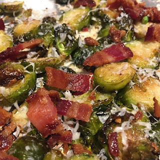 Crispy Roasted Brussel Sprouts with Bacon and Parmesan.