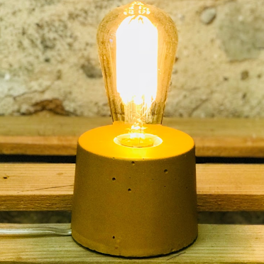 Lampe Beton Jaune Moutarde Design Cylindre Creation Fait Main