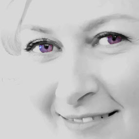 lilac eyes by Beth Krzes - Digital Art People ( high key, purple, black and white, color pop,  )
