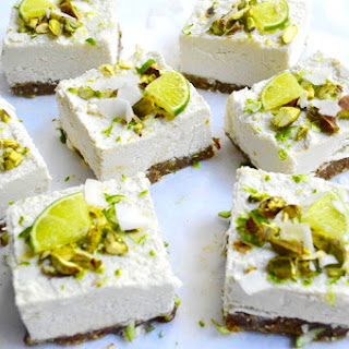 Raw Pistachio, Coconut & Lime Cheesecakes.