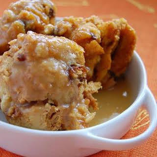 Pumpkin Raisin Bread Pudding with Butterscotch Sauce.