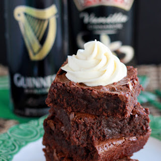 Guinness Brownies with Irish Cream Frosting.