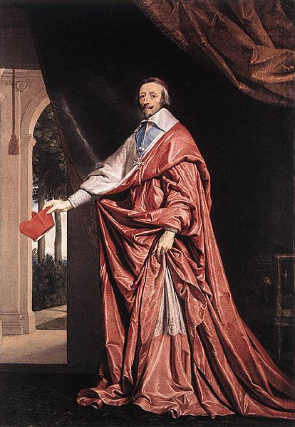 Cardinal Richelieu in his red cardinal's robes.